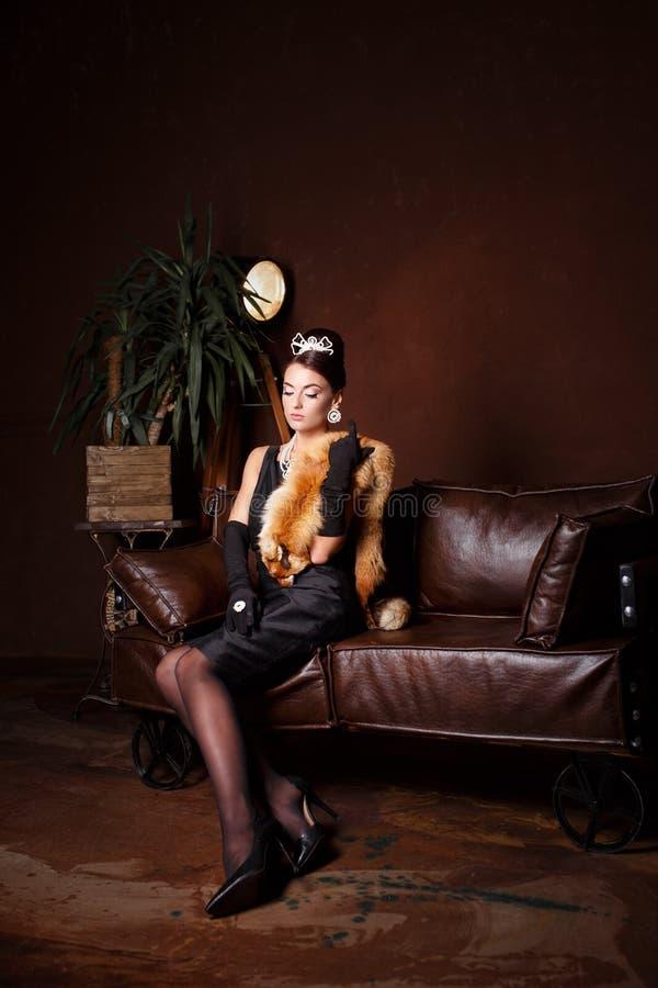 Romantische Schoonheid Mooi vrouwen retro portret royalty-vrije stock foto