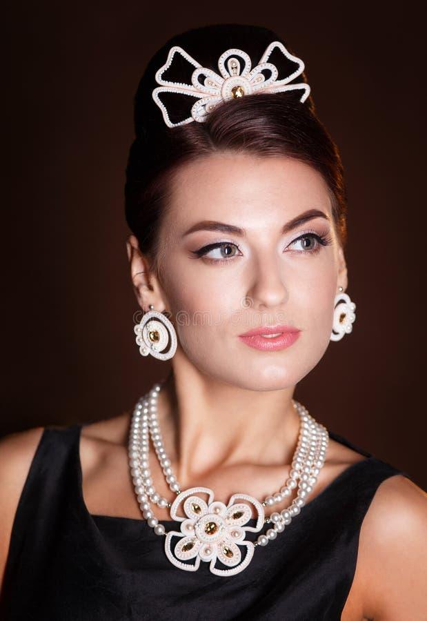Romantische Schoonheid Retro stijl Retro portret van de vrouw royalty-vrije stock foto