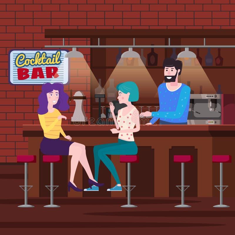 Romantische Sitzung von zwei Freundinnen in einer Cocktailbar Sitzen Sie in den Stühlen, genießen Sie und entspannen Sie sich von lizenzfreie abbildung