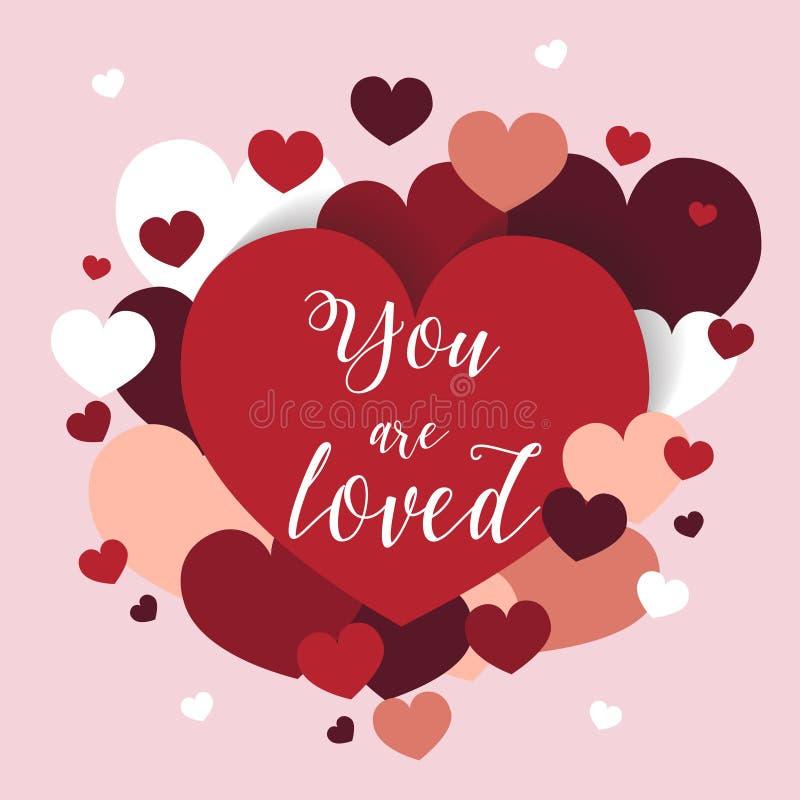 Romantische st valentijnskaartkaart met rode en witte harten over roze achtergrond stock illustratie