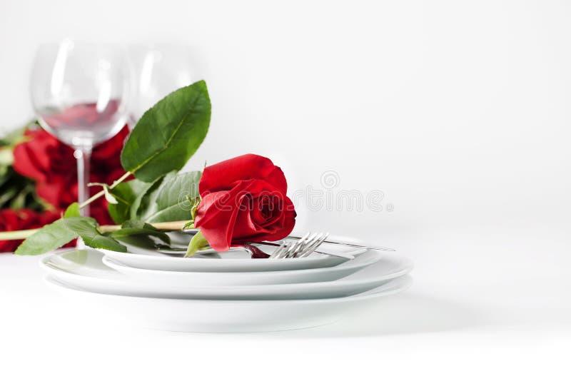 Romantische Tabelleneinstellung stockbilder