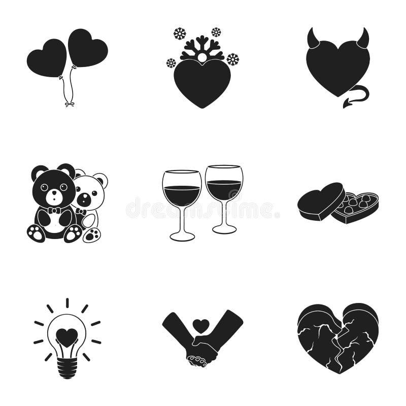 Romantische vastgestelde pictogrammen in zwarte stijl Grote inzameling van de romantische vectorillustratie van de symboolvoorraa vector illustratie
