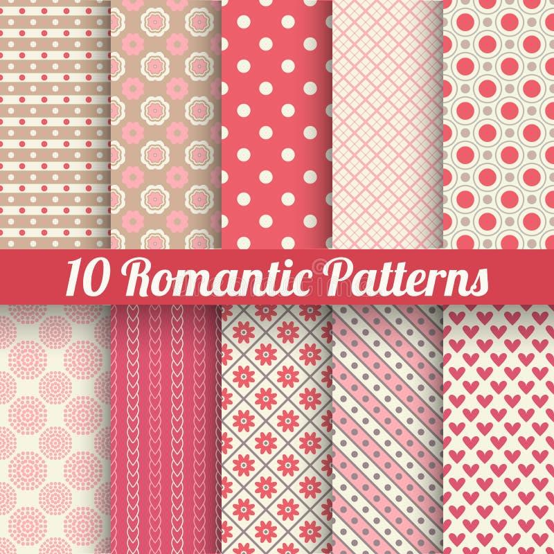 Romantische vector naadloze patronen die (, betegelen met royalty-vrije illustratie