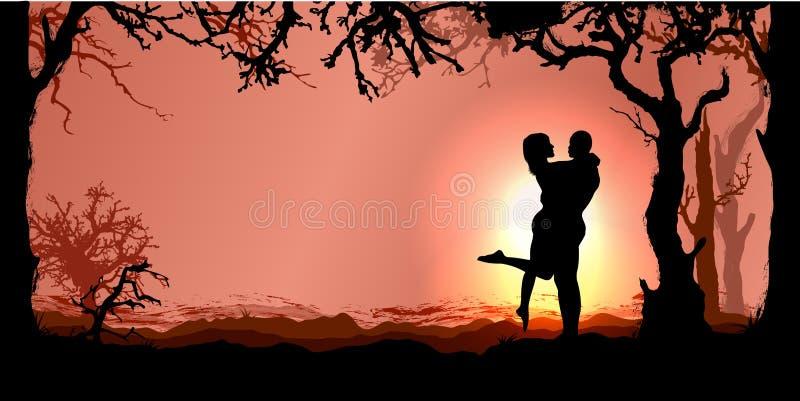 Romantische vectorachtergrond royalty-vrije illustratie