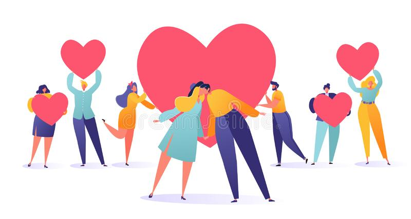 Romantische vectorillustratie op het thema van het liefdeverhaal Reeks mensen die een hartsymbolen, valentijnskaartkaarten houden vector illustratie