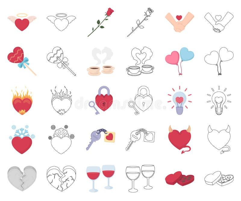 Romantische Verhältnis-Karikatur, Entwurfsikonen in gesetzter Sammlung für Entwurf Liebes- und Freundschaftsvektorsymbol-Vorratne lizenzfreie abbildung