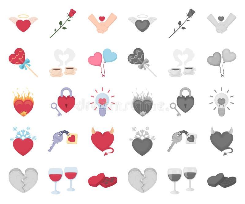 Romantische Verhältnis-Karikatur, Monoikonen in gesetzter Sammlung für Entwurf Liebes- und Freundschaftsvektorsymbol-Vorratnetz lizenzfreie abbildung