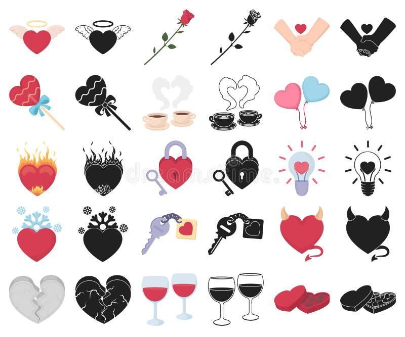 Romantische Verhältnis-Karikatur, schwarze Ikonen in gesetzter Sammlung für Entwurf Liebes- und Freundschaftsvektorsymbol-Vorratn stock abbildung
