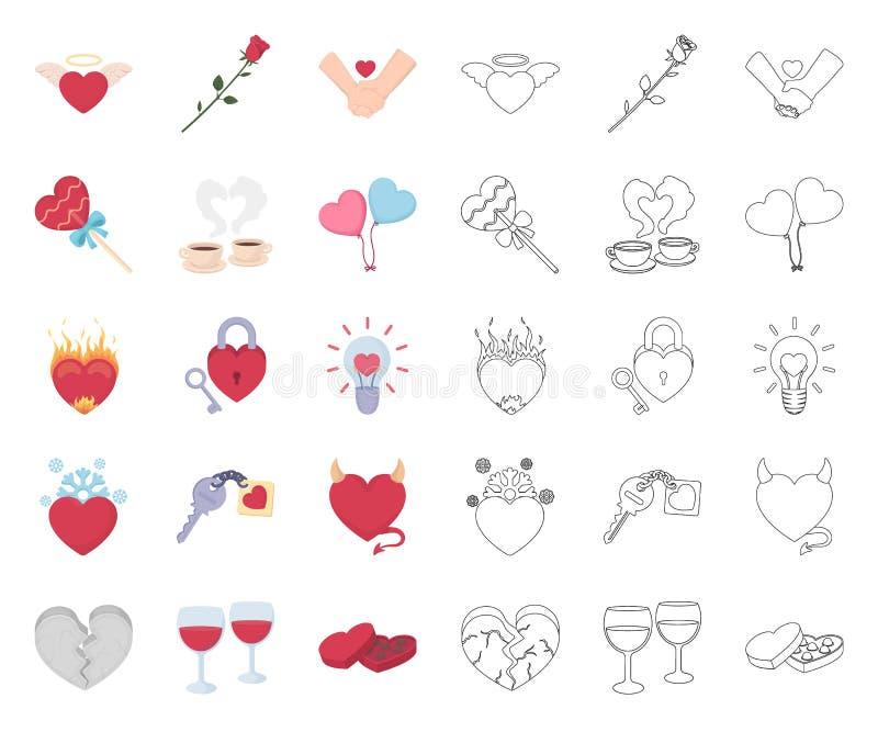 Romantische Verh?ltnis-Karikatur, Entwurfsikonen in gesetzter Sammlung f?r Entwurf Liebes- und Freundschaftsvektorsymbol-Vorratne stock abbildung