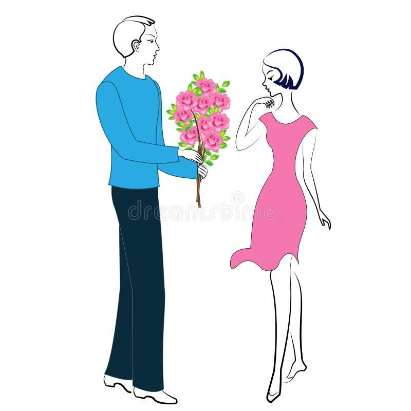 Romantische verhouding van gelukkige minnaars Een jonge mens en een meisje op een datum De kerel geeft de dame een mooi boeket va vector illustratie
