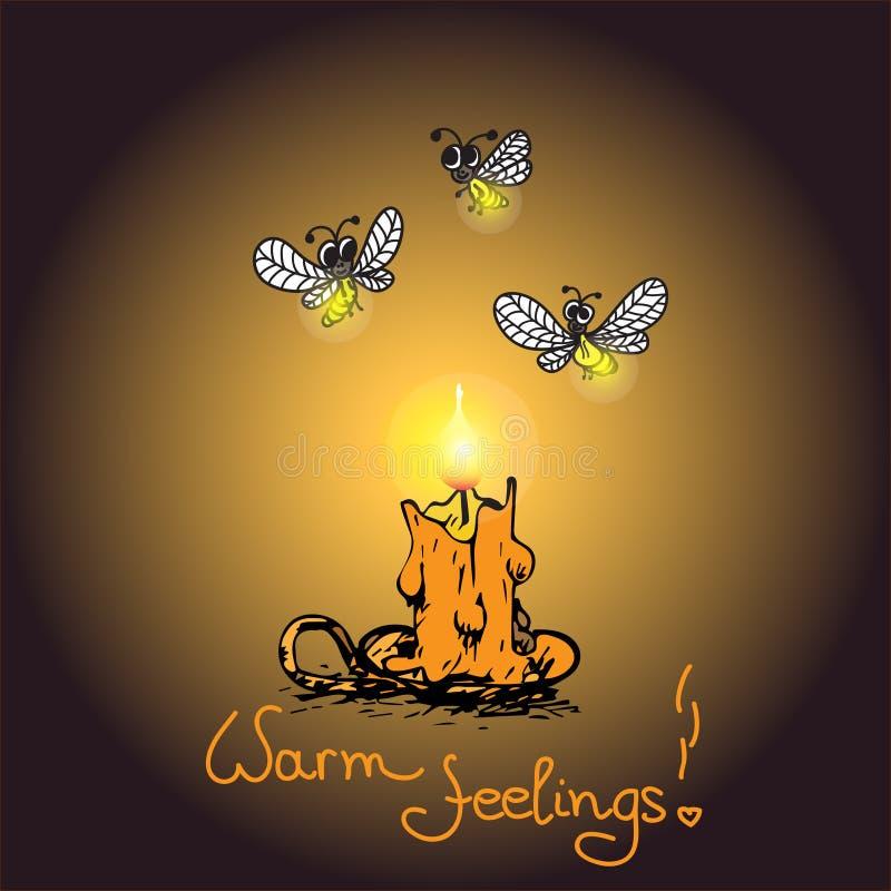 Romantische warme kaart met Kaars en glimwormen vector illustratie