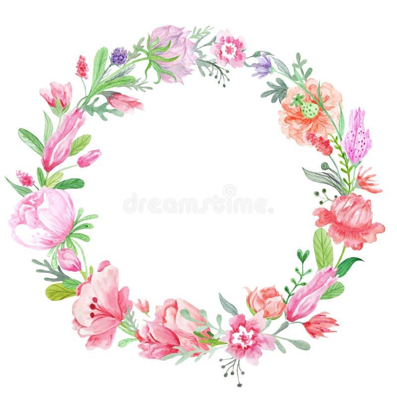 Romantische Weide Bloemenkroon royalty-vrije illustratie