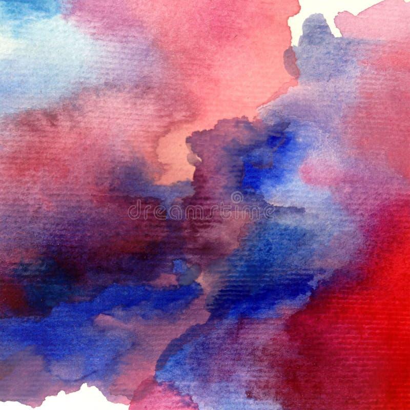 Romantische wolken van de van de achtergrond waterverfkunst de abstracte natte was kleurrijke geweven hemel royalty-vrije illustratie