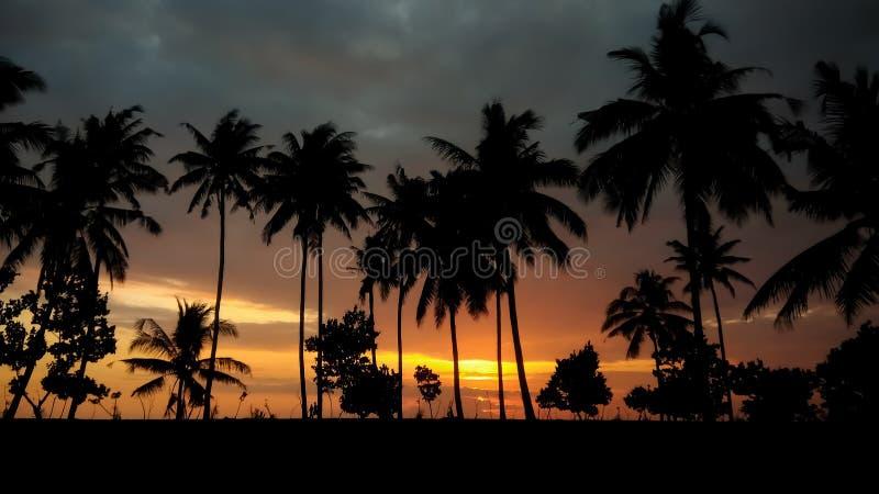 Romantische zonsondergang met silhouet royalty-vrije stock foto