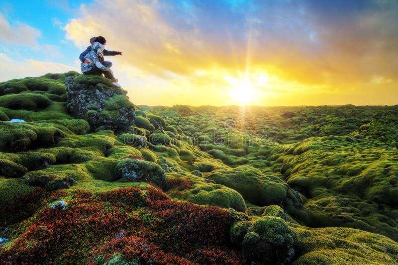 Romantische zonsopgang IJsland royalty-vrije stock foto