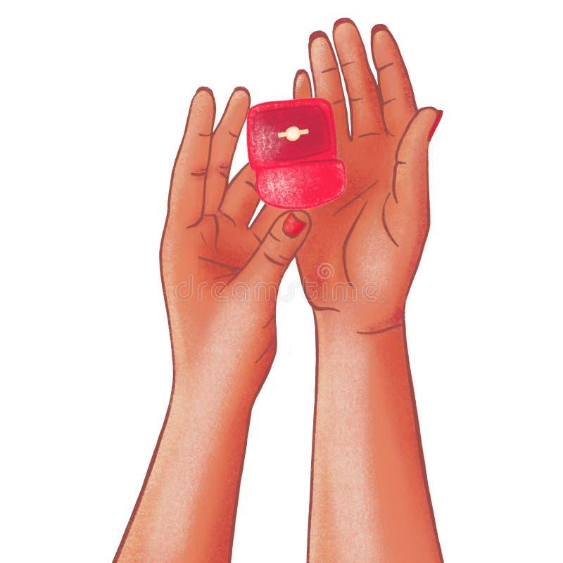 Romantischer Antrag, Hochzeit oder Valentinsgru? ` s Tagesszene vektor abbildung
