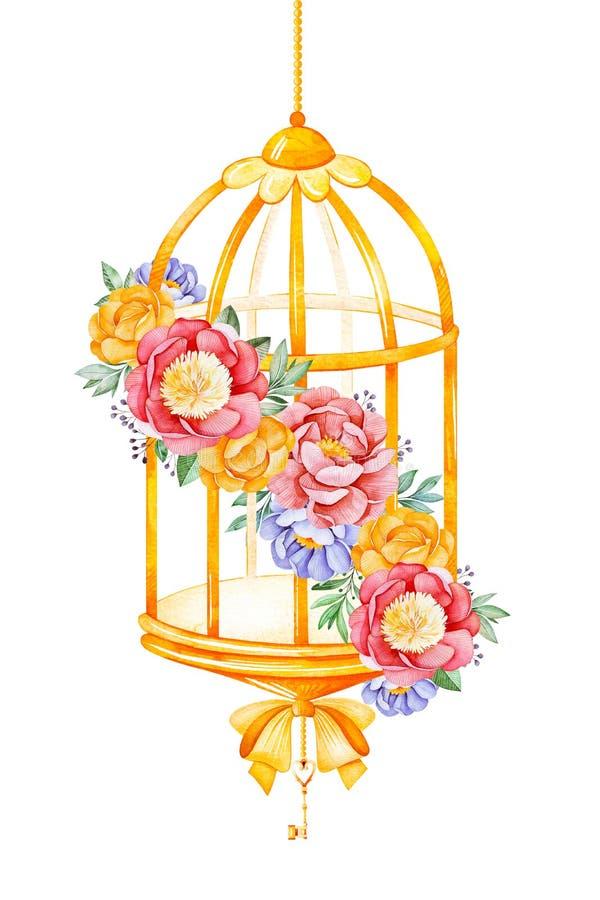 Romantischer Aquarell Birdcage mit Pfingstrose, Rose, Blättern, Blumen, Niederlassungen und Bögen stock abbildung