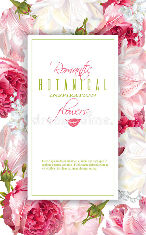Romantischer Blumenvertikalenrahmen lizenzfreie abbildung
