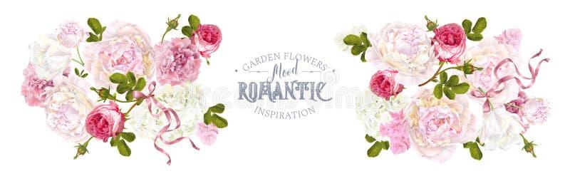Romantischer Garten horizontal vektor abbildung