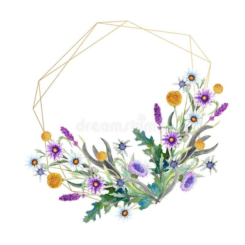 Romantischer geometrischer Rahmen Wildflowers im Aquarell Hochzeitskonzept mit Blumen Blumenplakat, Einladung watercolor lizenzfreie abbildung