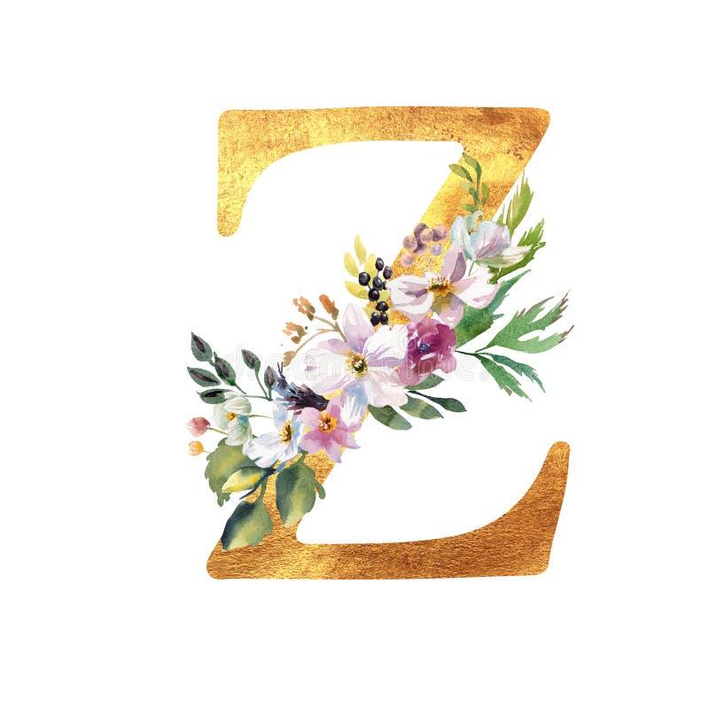 Romantischer Goldbuchstabe A mit gezogenen Aquarellblumen Elegantes Emblem f?r Buchentwurf, Markenname, Heiratseinladung stockbild