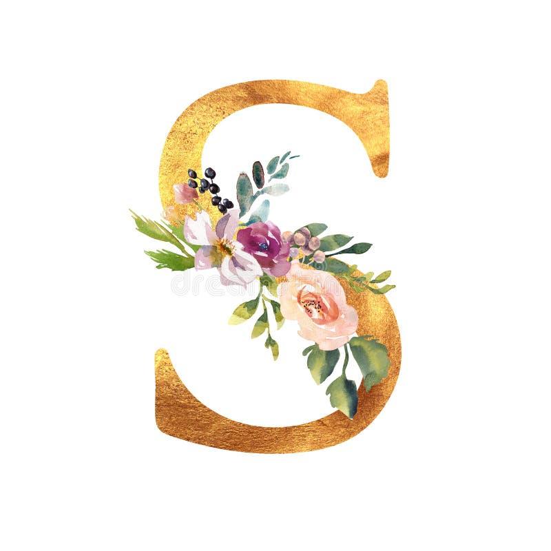 Romantischer Goldbuchstabe A mit gezogenen Aquarellblumen Elegantes Emblem f?r Buchentwurf, Markenname, Heiratseinladung lizenzfreies stockbild