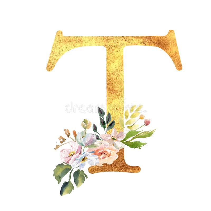 Romantischer Goldbuchstabe A mit gezogenen Aquarellblumen Elegantes Emblem f?r Buchentwurf, Markenname, Heiratseinladung stockfotografie