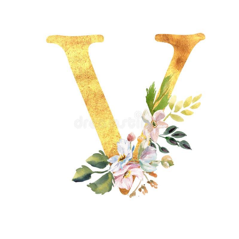 Romantischer Goldbuchstabe A mit gezogenen Aquarellblumen Elegantes Emblem f?r Buchentwurf, Markenname, Heiratseinladung lizenzfreie stockfotos