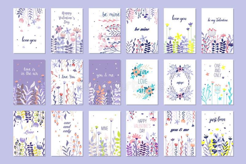 Romantischer Grußkartensatz, modische Karten für Valentinsgrußtag, Geburtstag, Jahrestag, gezeichneter Vektor der Einladung Hand vektor abbildung