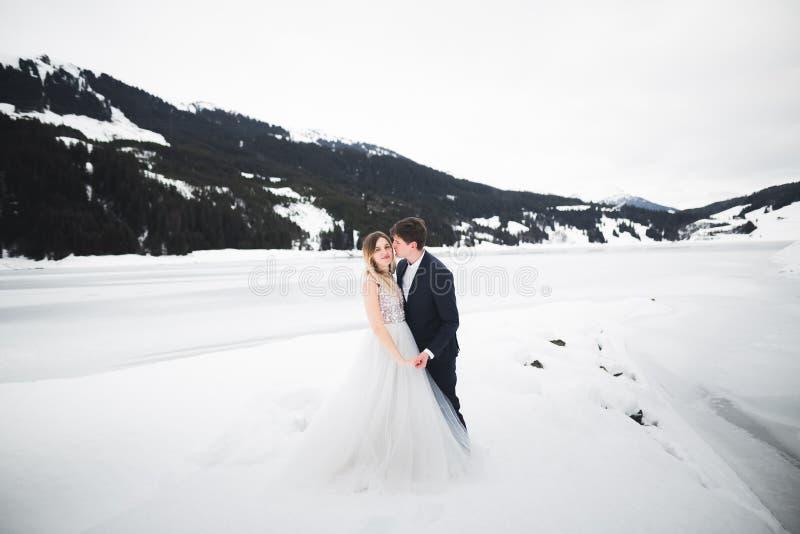 Romantischer Heiratsmoment, Paar von Jungverm?hlten l?chelndes Portr?t-, Braut- und Br?utigamumarmen stockbilder