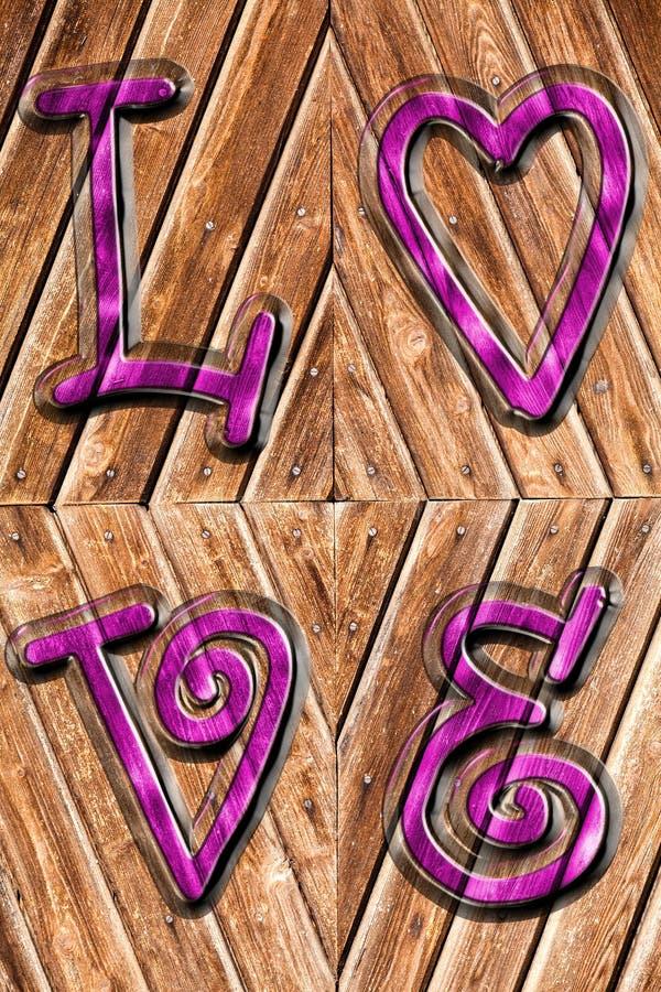 Romantischer Hintergrund auf antikem Holz und purpurroten der Wortliebe oben beeindruckt lizenzfreie abbildung