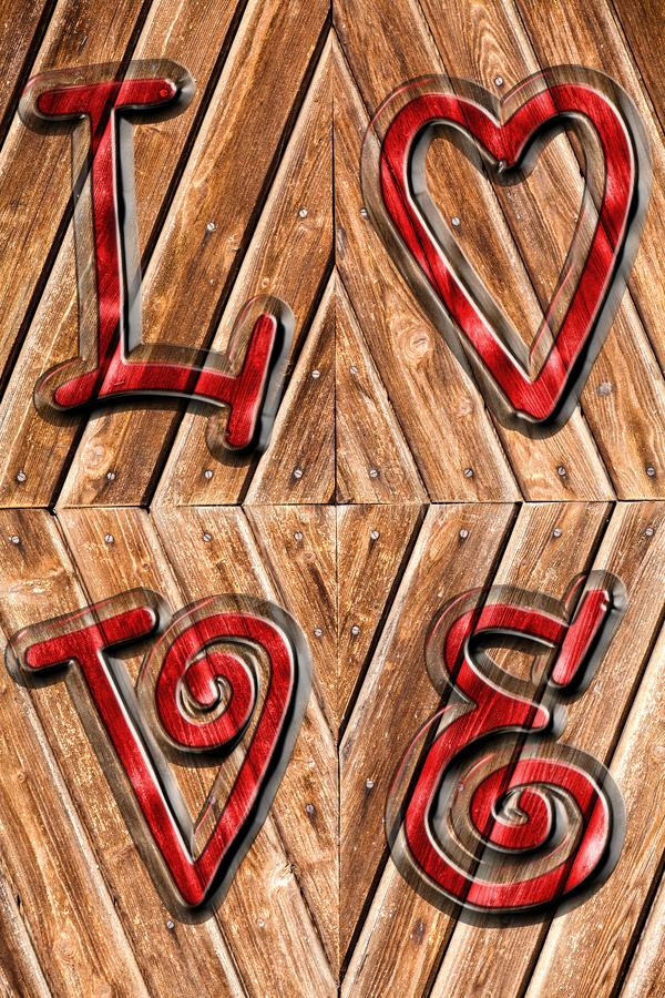 Romantischer Hintergrund auf antikem Holz und roten der Wortliebe oben beeindruckt vektor abbildung