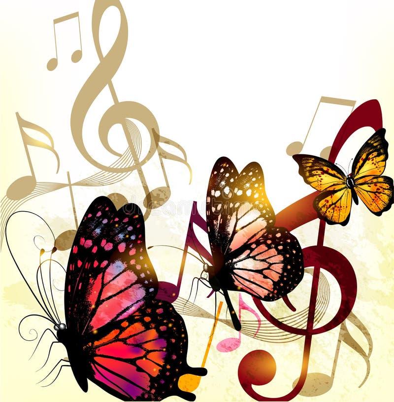 Romantischer Hintergrund der Schmutzmusik mit Anmerkungen und Rosen lizenzfreie abbildung