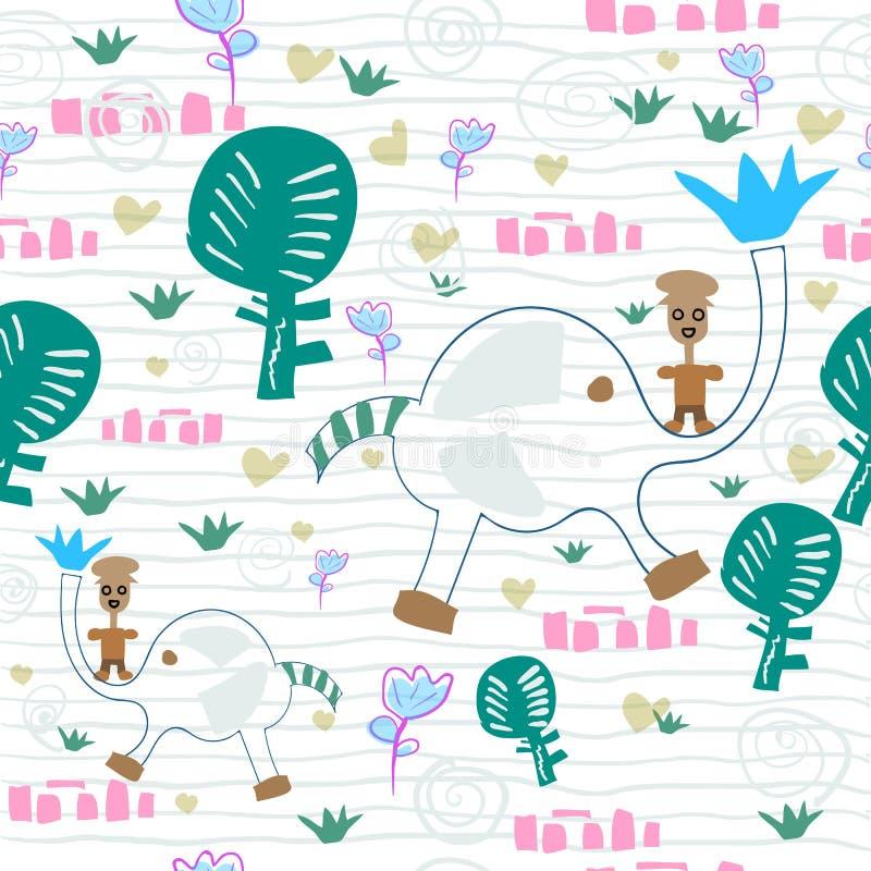 Romantischer Hintergrund des Jungen mit nettem Elefanten im Wald lizenzfreie abbildung