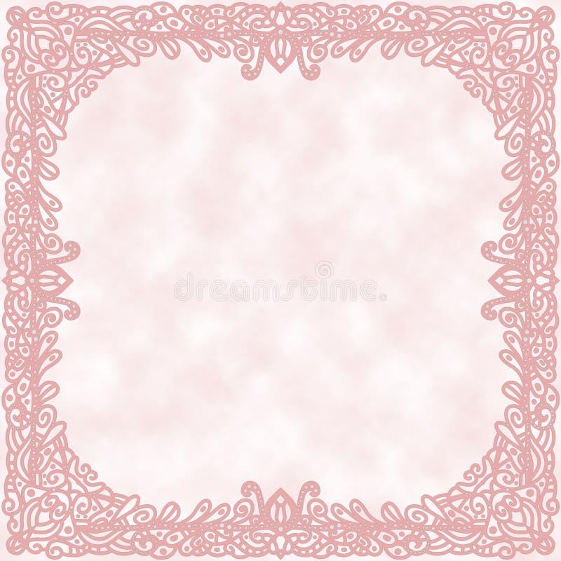 Romantischer Hintergrund mit dekorativem Rand vektor abbildung
