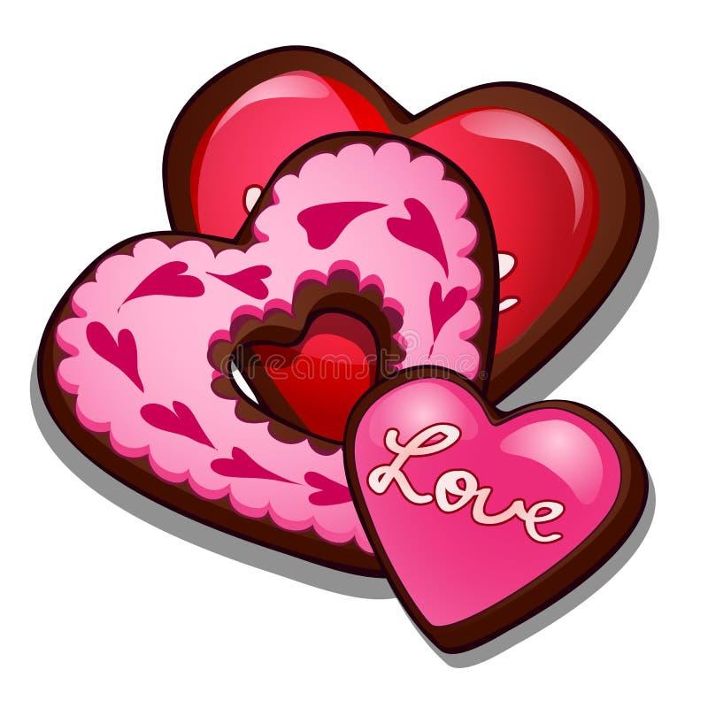 Romantischer Lebkuchen in der Form von Herzen Kulinarische Freuden für Valentinsgruß-Tag, Romanze Symbol Vektor lokalisiert lizenzfreie abbildung