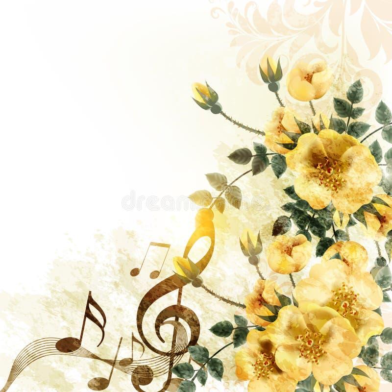 Romantischer Musikhintergrund mit gelben Rosen in der Weinleseart lizenzfreie abbildung