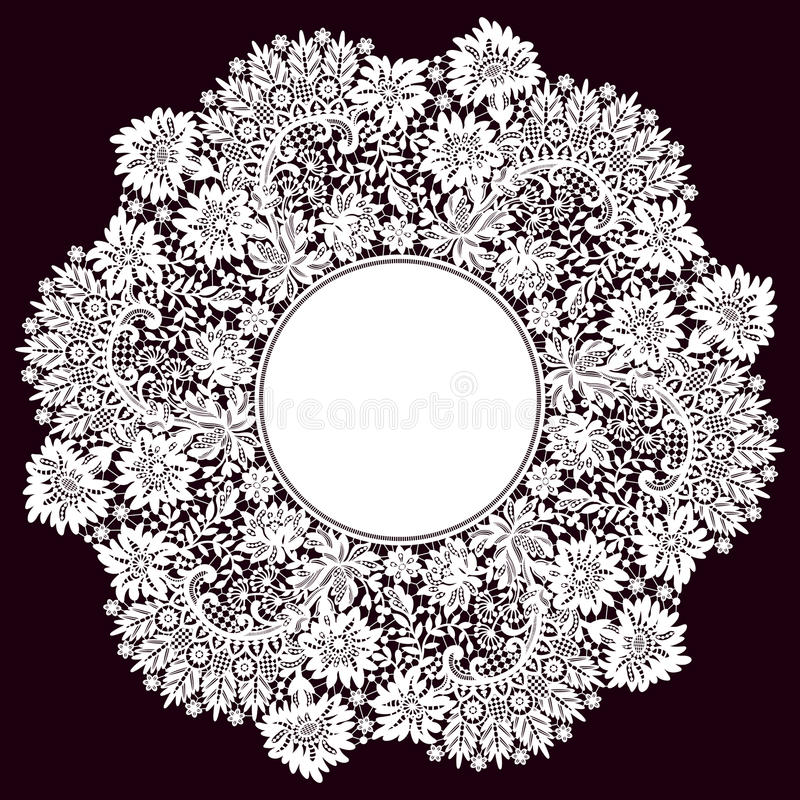 Romantischer Spitze-Kreis-Rahmen Vektor Abbildung - Illustration von ...