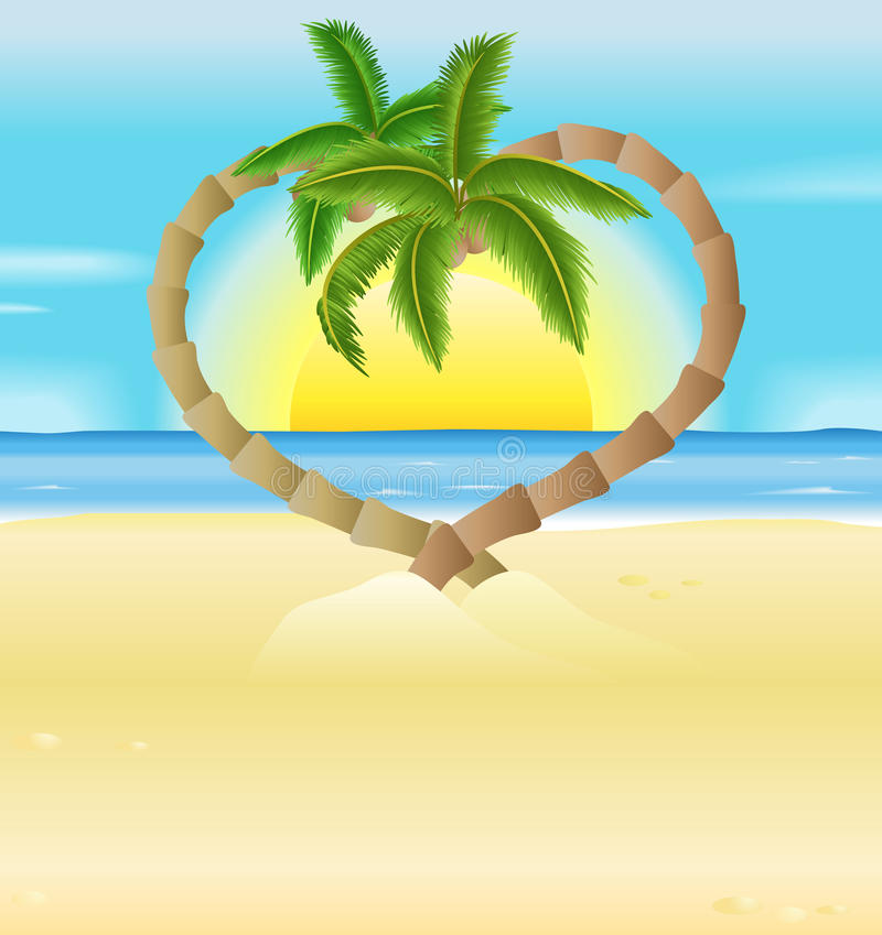 Romantischer Strand, InnerPalmeabbildung lizenzfreie abbildung