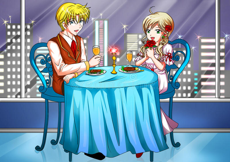 Romantisches Abendessen stock abbildung