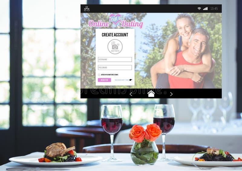 Romantisches Abendessen Datierungs-APP-Schnittstelle stockfotografie