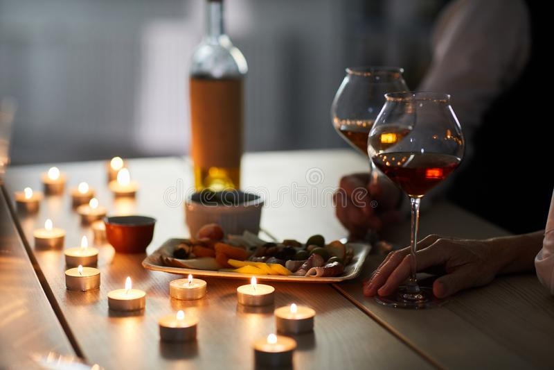 Romantisches Abendessen stockfotos