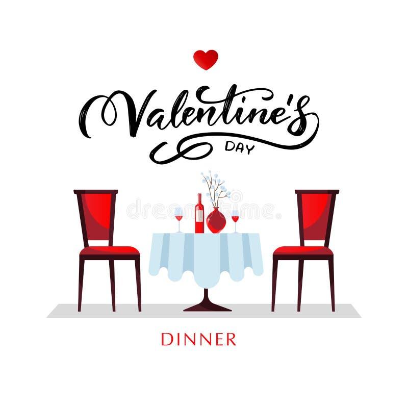 Romantisches Abendessen zum Valentinstag Ein Tisch mit weißer Tischdecke, serviert mit Gläsern, Wein und Porzellan Flat lizenzfreie abbildung