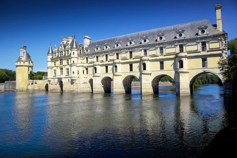 Romantisches Ansicht Chenonceau-Schloss lizenzfreie stockbilder
