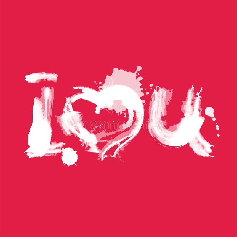 Romantisches Aquarell, das ich liebe dich Weiß auf Rot beschriftet stock abbildung