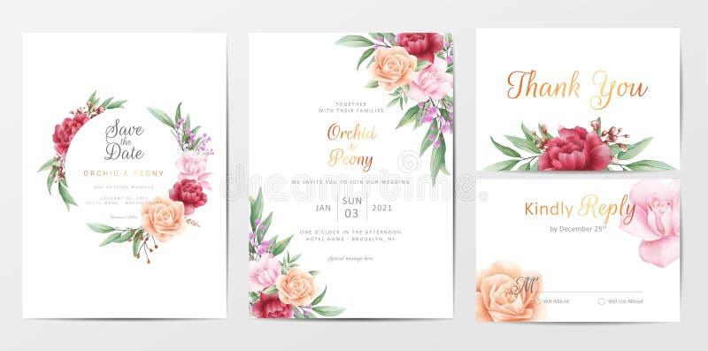 Romantisches Blatt Hochzeitskarten-Template Set lizenzfreie abbildung