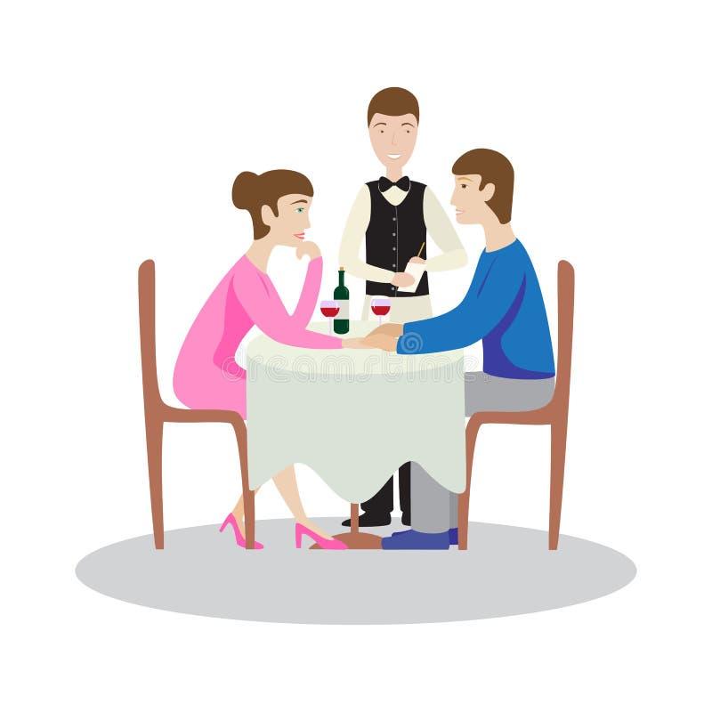 Romantisches Familienabendessen in einem Restaurant Valentinsgrußabendessen vektor abbildung