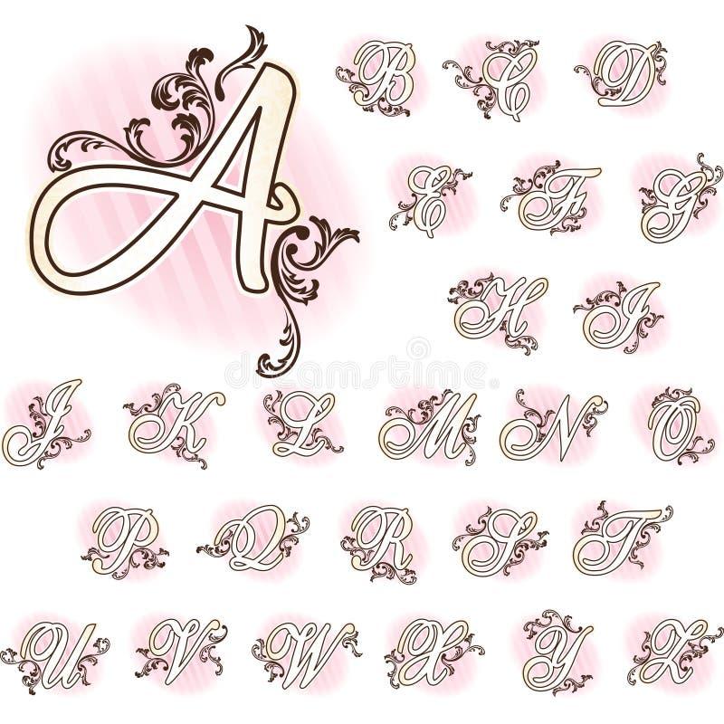Romantisches französisches Retro- Alphabet lizenzfreie abbildung