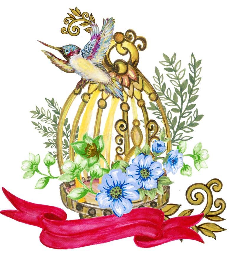 Romantisches Heiratsweinlese-Blumen-Blumenstrau?aquarellpfingstrosen-Rosenblattlaub und Vogel und Birdcagegegenstand lokalisiert  stock abbildung