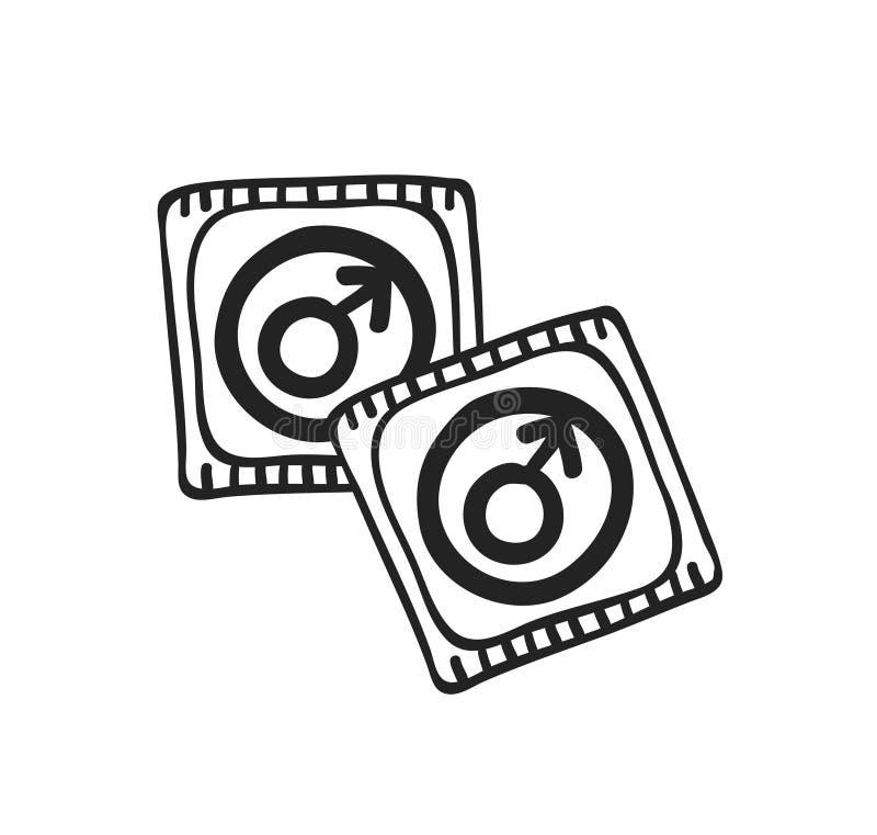 Romantisches Kondom Handder gezogenen Mode-Illustration lokalisiert auf weißem Hintergrund Kreatives Tintenkunstwerk Tatsächliche vektor abbildung